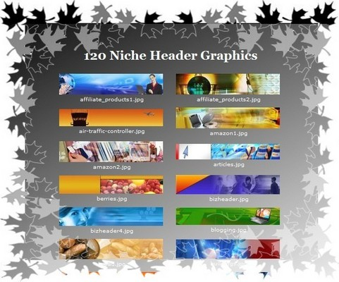 Product picture 120 High Quality Niche Header Graphics